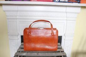 Vintage 1960s Whiskey Tan Ackery London Handbag Leather Retro Bag Elbief Brown Kelly Bag Suede
