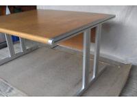 Swedish Office Desk-1400mm x1200mm x720mm--40mm Beech Veneer--Satin Aluminium Legs & Ends