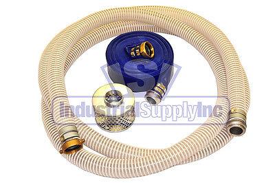 2 Flex Pin Lug Suction Hose Trash Pump Kit W100 Discharge Hose Fs