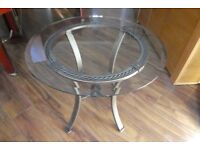 Round, Glass Topped, Side Table 66cm Diameter and 56cm high