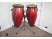 Pair of Red Lacquered Wood Grain Conga Drums 11 inch plus 11.1/2 inch - Both 30 inches deep on Stand