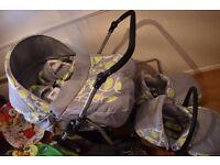 Twin Pram 3in1 Pushchair Double Buggy + 2 car seats + 2 footmuffs