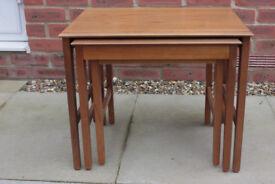 Vintage Remploy solid oakk nest of tables