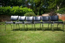 Set of 6 black with white edging kitchen or dining chairs in used condition