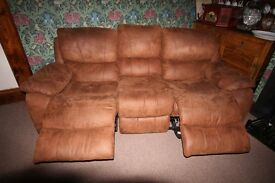 3 seat reclining faux leather sofa