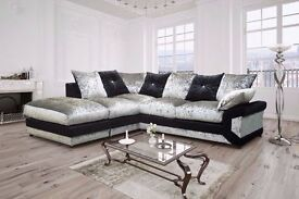 GET IT NOW:: BRAND NEW DINO CRUSHED VELVET BLACK AND SILVER CORNER OR 3 2 SEATER SOFA SET
