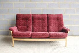 Lovely Vintage Retro Style Ercol Light Elm Saville Three 3 Seater Sofa with Cushions