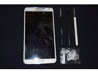 samsung galaxy note 3 (cracked LCD screen) + genuine spare pen replacement kit.