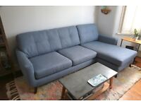 Blue Corner Sofa John Lewis Pale Blue Barbican, Right hand corner sofa in Excellent Condition