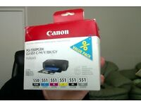 6 Canon ink cartridges PG1-550PGBK CLI-551 C/M/YBK/GY multipack of colours