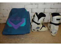 Ski boots, boot bag and accessories