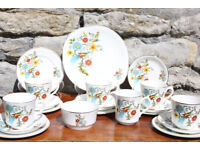 Stunning Vintage 20 Piece Arklow Pottery Bird of Paradise Tea Set Irish Ireland Tea Coffee Service