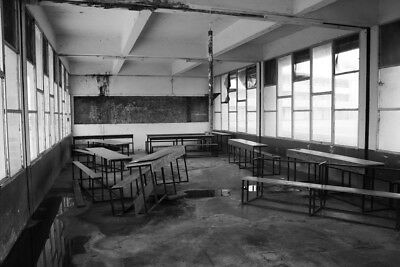Abandoned Classroom Bujumbura Burundi Africa Black And White Poster 18x12