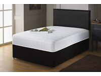 DOUBLE DIVAN BED SET WITH MATTRESS + HEADBOARD SIZE 3FT 4FT6 Double 5FT King