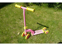 Pink and yellow kids My First Scooter, can be 4, 3, or 2-wheel (ages 2-4 years)