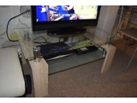 glass top coffee table/tv unit