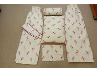 Cream with Pink Tulip Pencil Pleat Curtains, Tie Backs, Bolster Cushion, Pillow Cushion & Table Mat