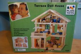 Plan Toys Large Terraced Wooden Dolls House with Dolls, Furniture & Accessories