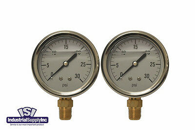 2-pk 0-30 Psi 2.5 Liquid Filled Hydraulic-air-water Pressure Gauge