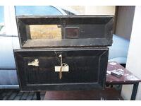 Vintage Lot of Antique Metal Deed Boxes Job Lot