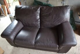 Brown Soft Leater Two Seater Sofa