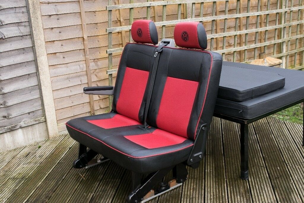 VW Transporter Red Leather rear folding seats and bed ...