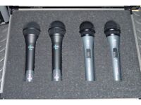 Set of 4 x Microphones - 2 x Sennheiser E-818-S and 2 x AKG D-880 - With Case & FREE Vandamme Cable