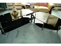 Large Black Glass TV Stand & Coffee Table Virtually brand new Need gone asap £75 for both