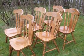 6 Farmhouse Kitchen/Dining Room Wooden Chairs