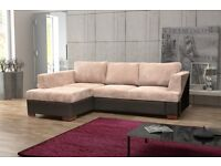 BRAND NEW FABRIC CORNER SOFA BED SETTEE, JUMBO CORD MATERIAL SOFABED