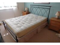 Metal double bed and mattress