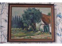Impasto/Impressionist Oil Painting of cottage signed C. Moors, 1935