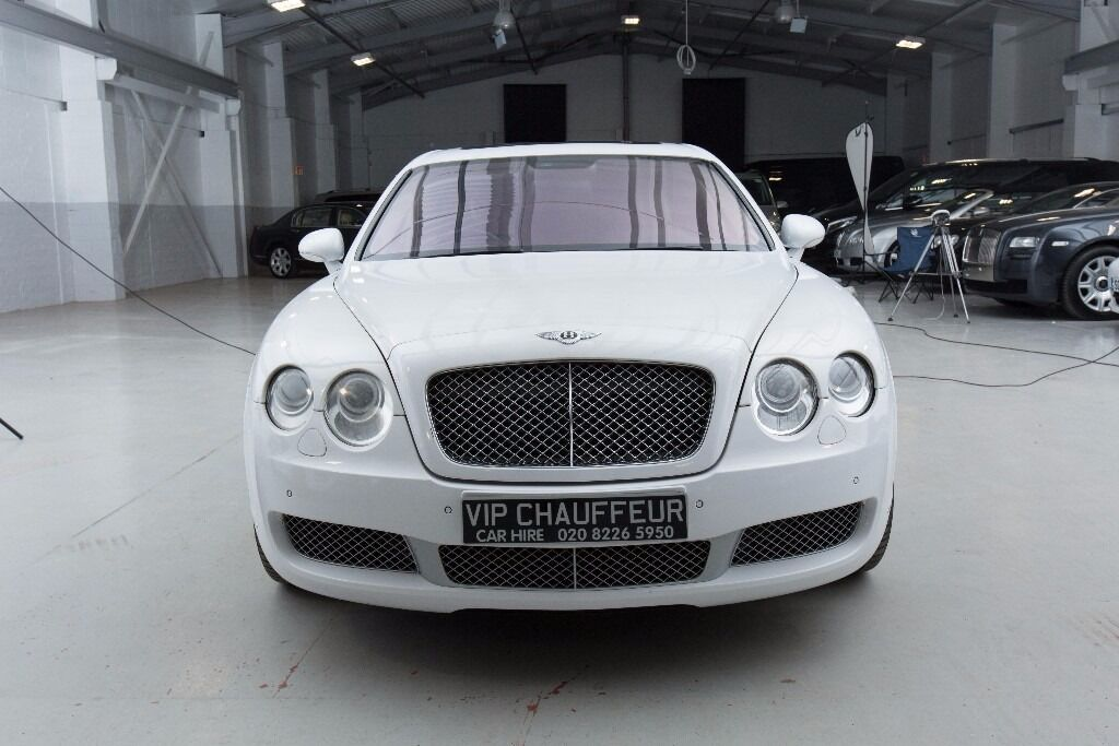 White Bentley Continental Flying Spur Wedding Car Hire Proms Airport Transfer For All Events