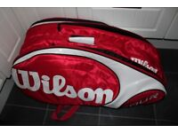 Wilson Tour 12 Racquet Bag, Holds 12 racquets, has side pockets for keys, wallet etc.