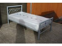 Good Silver metal single bed with BRAND NEW mattress. FREE DELIVERY IN BELFAST!