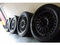 "Lenso BSX BBS 17"" 4x100 4x108 alloy wheels + tyres! Vauxhall ford honda toyota mg RRP £600+"