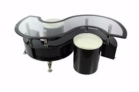 S Shape Coffee Table With Black Border And Matching Stools