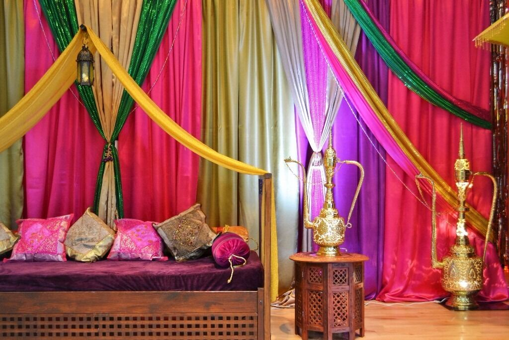 Tempting occasions wedding decor mehndi bollywood stages for Arabian decorations for home