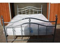 Silver metal Double bed with BRAND NEW mattress. FREE DELIVERY IN BELFAST