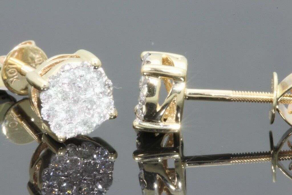 10K YELLOW GOLD .46 CARAT MENS WOMENS 6 mm 100% GENUINE DIAMONDS EARRING STUDS