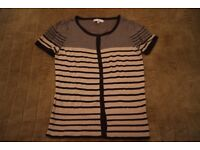 Jasper Conran Size 12 Striped Cream and Blue Short Sleeved Jumper