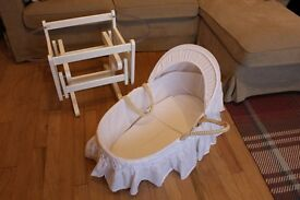 Mothercare Moses Basket and Gliding Rocker Stand White