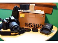 Nikon D5300 & 55-200mm lens, extra battery, 32GB SD card, all original accessories