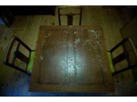 Vintage Art Deco Style table and chairs, for restoration project.