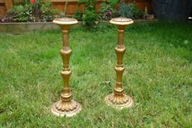 Gothic candelabra and pair of church style candlesticks