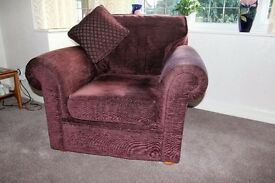 Three Piece Suite - Mulberry - Sofa and two single chairs.