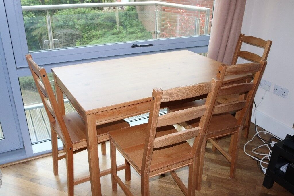 Ikea Jokkmokk Solid Pine Dining Table And 4 Chairs 60