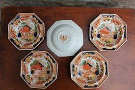 5 Old Vintage Antique Bowls Swiss Pastime - T Hughes & Sons Late Davenport Longport Kitchenalia