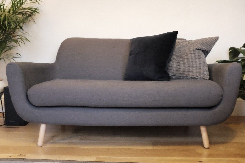 Jonah 2 Seater Designer Sofa Shire Grey Made