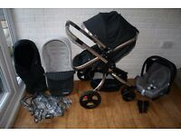 Mothercare Orb Charcoal Twill Pram and Pushchair with car seat 3 in 1 ***can post****